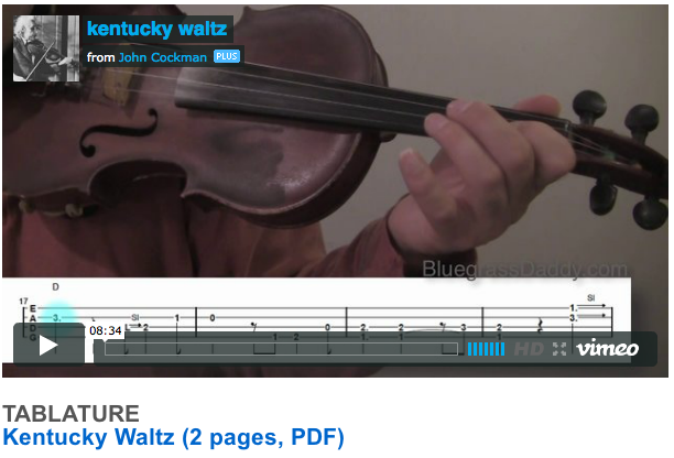 "This is an online fiddle lesson for the tune ""Kentucky Waltz."" BluegrassDaddy.com is your best source for Bluegrass, Old-Time, Celtic, Gospel, and Country fiddle lessons!"