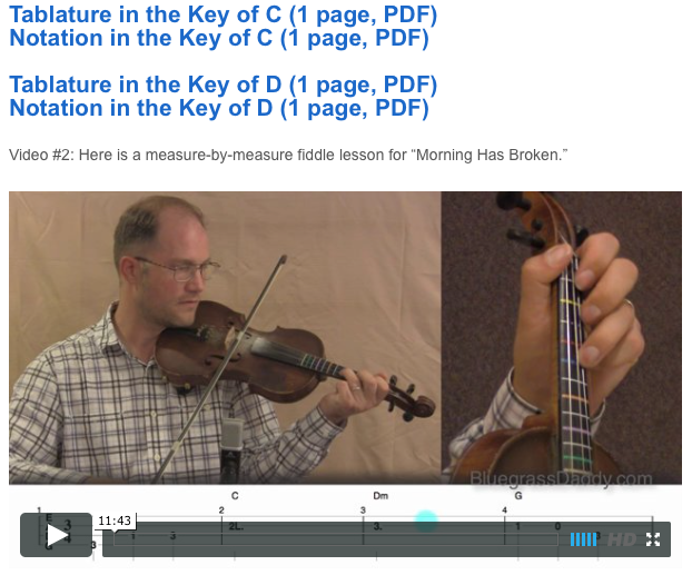 Morning Has Broken - Online Fiddle Lessons. Celtic, Bluegrass, Old-Time, Gospel, and Country Fiddle.