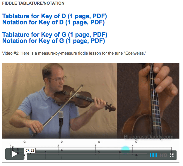Edelweiss -  Online Fiddle Lessons. Celtic, Bluegrass, Old-Time, Gospel, and Country Fiddle.