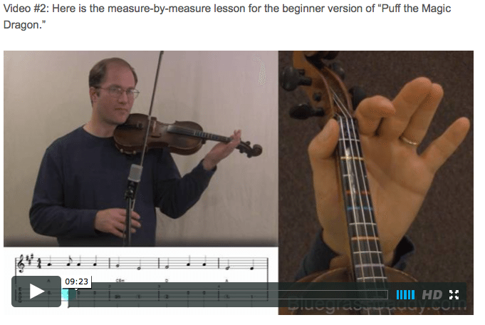Puff the Magic Dragon -  Online Fiddle Lessons. Celtic, Bluegrass, Old-Time, Gospel, and Country Fiddle.