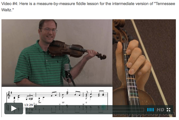 Tennessee Waltz - Online Fiddle Lessons. Celtic, Bluegrass, Old-Time, Gospel, and Country Fiddle.