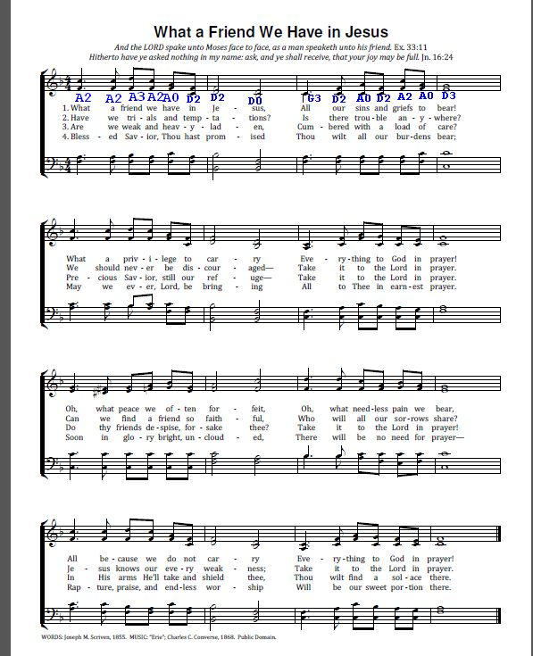 What a Friend We Have in Jesus – converting piano music to tabs ...